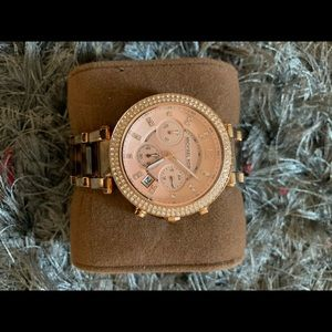 Gold Michael Kors Watch with Leopard print links